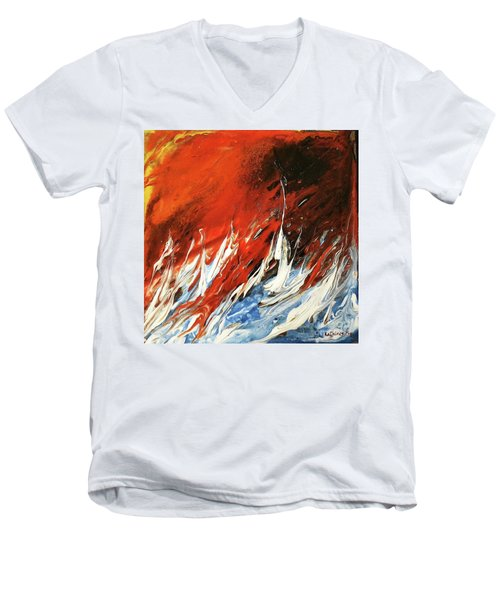 Men's V-Neck T-Shirt featuring the mixed media Fire And Lava by Kathleen Pio