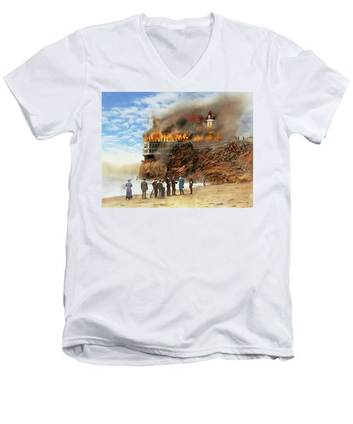 Men's V-Neck T-Shirt featuring the photograph Fire - Cliffside Fire 1907 by Mike Savad