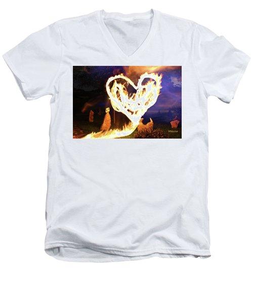 Fire Heart Men's V-Neck T-Shirt by Andrew Nourse