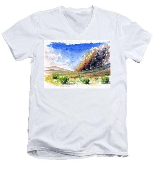 Fire In The Desert 1 Men's V-Neck T-Shirt by John D Benson