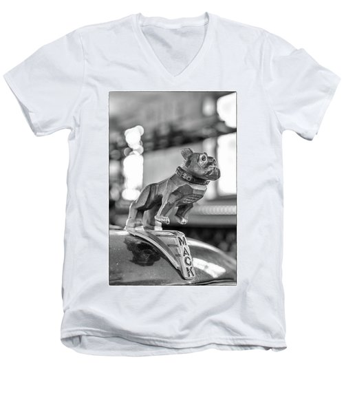 Men's V-Neck T-Shirt featuring the photograph Fire Truck Hood Ornament by Patricia Schaefer