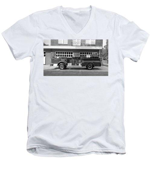 Fire Truck Men's V-Neck T-Shirt by Paul Seymour