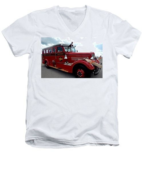 Fire Truck Selfridge Michigan Men's V-Neck T-Shirt