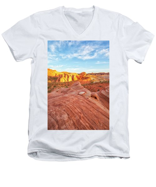 Fire Wave In Vertical Men's V-Neck T-Shirt by Joseph S Giacalone