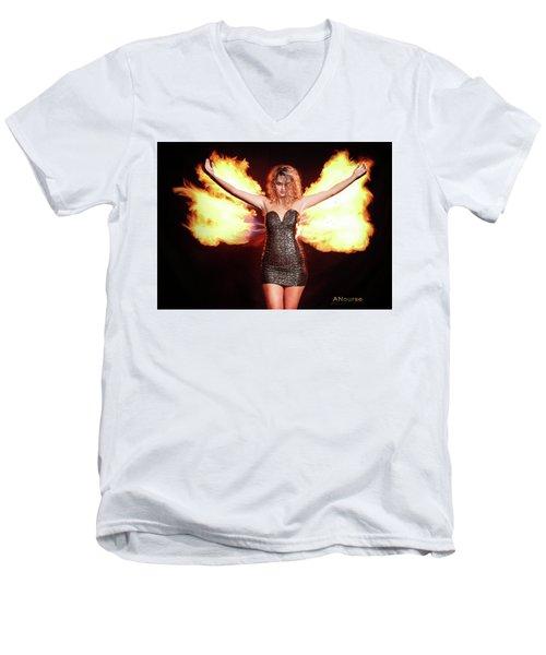 Fire Wings Men's V-Neck T-Shirt by Andrew Nourse