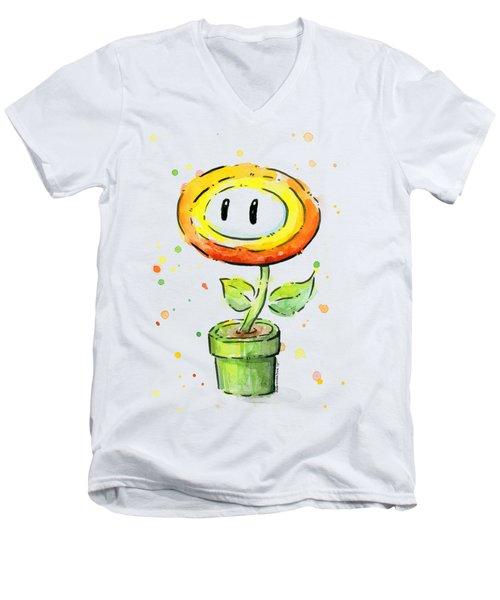 Fireflower Watercolor Men's V-Neck T-Shirt by Olga Shvartsur