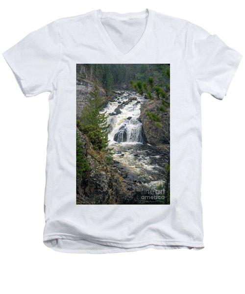 Firehole Falls Men's V-Neck T-Shirt by Cindy Murphy - NightVisions