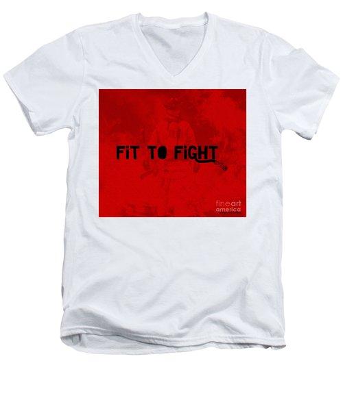 Fireman In Red Men's V-Neck T-Shirt by Megan Dirsa-DuBois