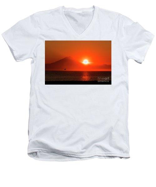 Firey Sunset On Mt Redoubt Volcano Alaska Men's V-Neck T-Shirt