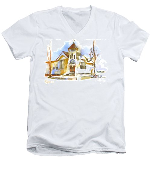 Men's V-Neck T-Shirt featuring the painting First Baptist Church In Winter by Kip DeVore