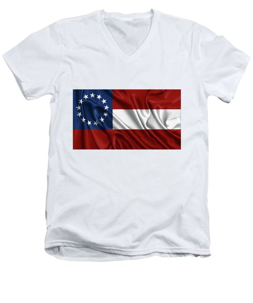 First Flag Of The Confederate States Of America - Stars And Bars 1861-1863 Men's V-Neck T-Shirt