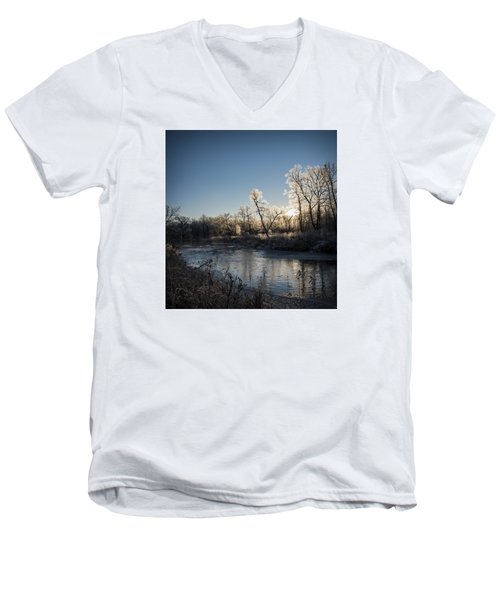 Men's V-Neck T-Shirt featuring the photograph First Frost by Annette Berglund