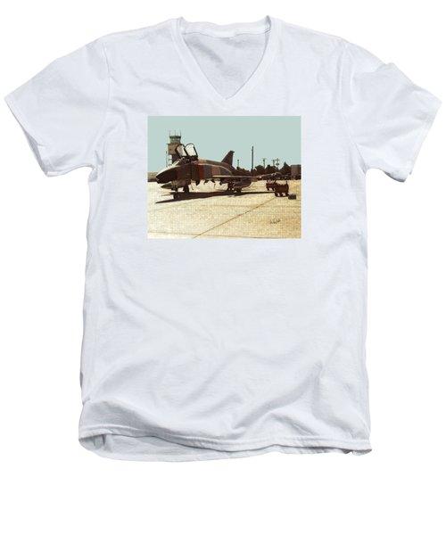 Men's V-Neck T-Shirt featuring the digital art First Jet by Walter Chamberlain
