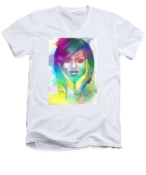 Men's V-Neck T-Shirt featuring the mixed media First Lady Obama by AC Williams