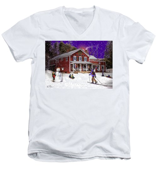 First Snow At The South Woodstock Country Store Men's V-Neck T-Shirt