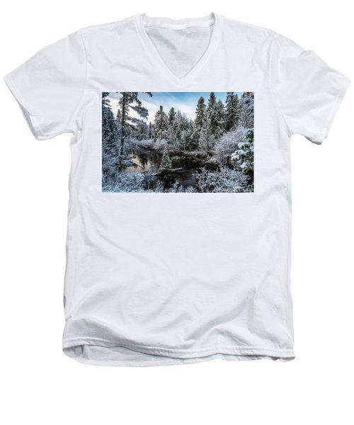 First Snow On Grand Marais Creek Men's V-Neck T-Shirt