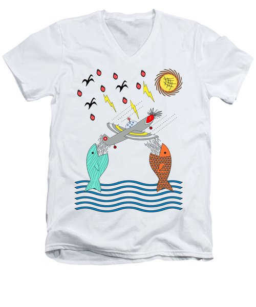 Fish Food Men's V-Neck T-Shirt by Methune Hively