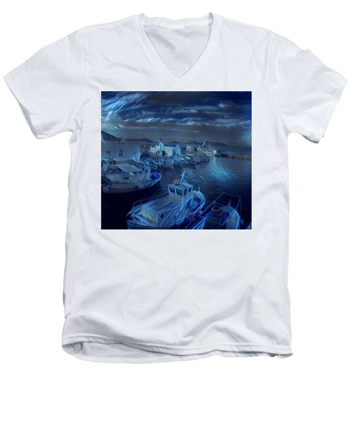 Fish Harbour Paros Island Greece Men's V-Neck T-Shirt