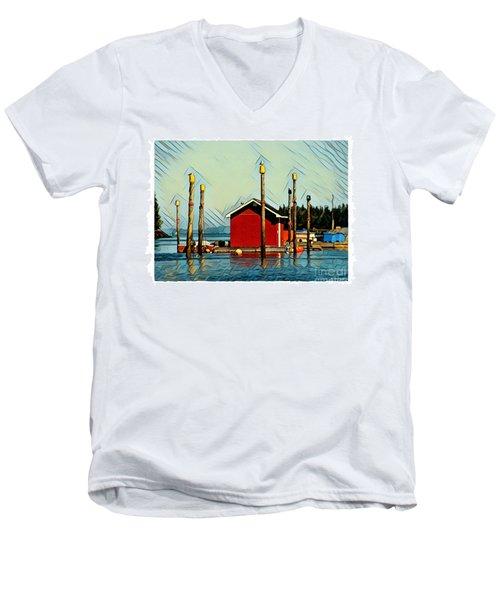 Fish Shack, Campobello Men's V-Neck T-Shirt