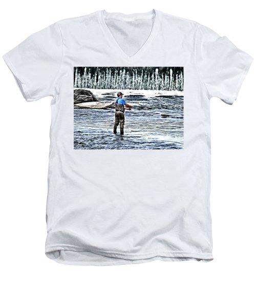 Fisherman On The River Men's V-Neck T-Shirt