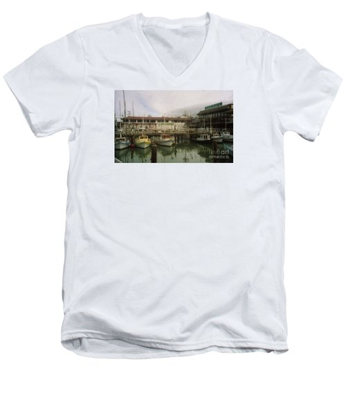 Fishermans Wharf Boats Men's V-Neck T-Shirt