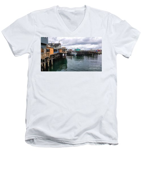 Men's V-Neck T-Shirt featuring the photograph Fisherman's Wharf Monterey II by Gina Savage