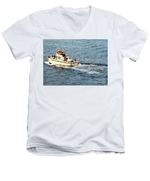 Men's V-Neck T-Shirt featuring the photograph Fishing And Seagulls by Randall Weidner