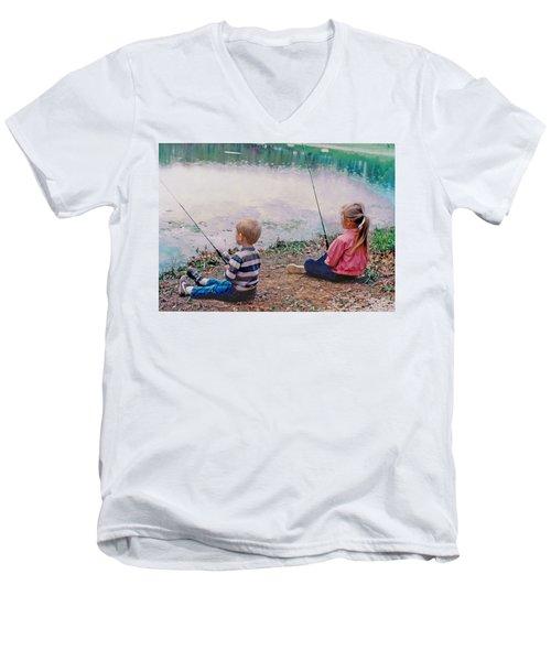 Fishing At Watkins Mill Men's V-Neck T-Shirt by Steve Karol