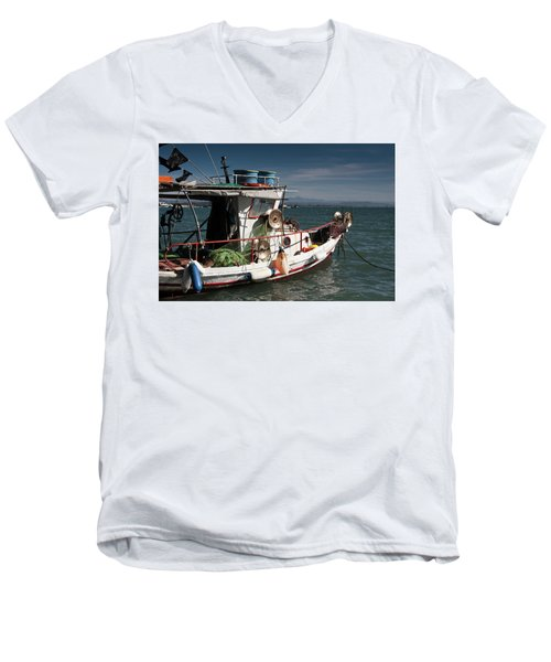 Men's V-Neck T-Shirt featuring the photograph Fishing by Bruno Spagnolo