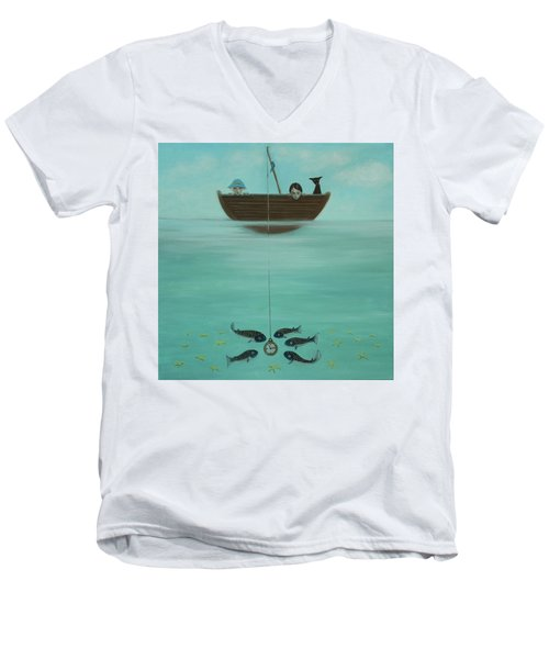 Men's V-Neck T-Shirt featuring the painting Fishing For Time by Tone Aanderaa