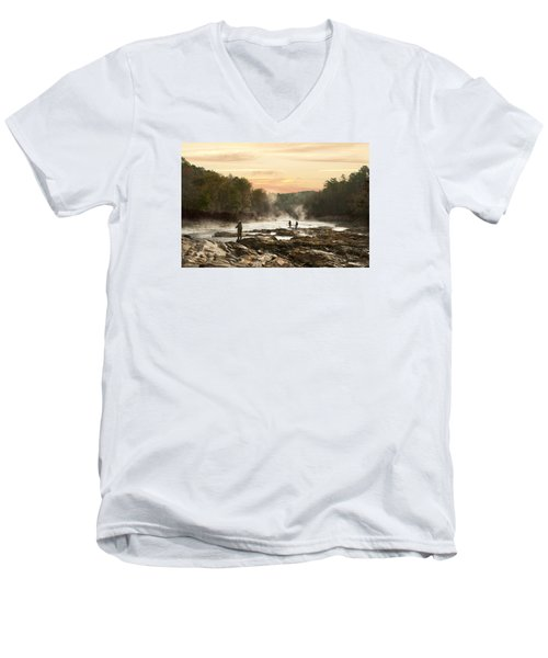 Fishing In The Mist Men's V-Neck T-Shirt