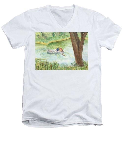 Men's V-Neck T-Shirt featuring the painting Fishing Lake Tanko by Vicki  Housel