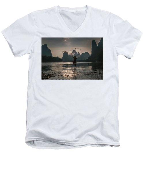Fisherman Casting A Net. Men's V-Neck T-Shirt