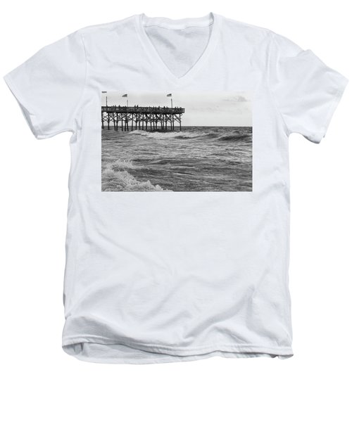Men's V-Neck T-Shirt featuring the photograph Fishing Off The Pier At Myrtle Beach by Chris Flees