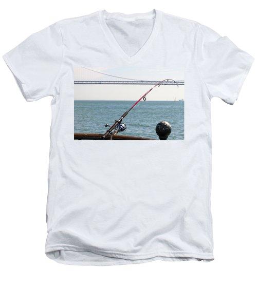 Fishing Rod On The Pier In San Francisco Bay Men's V-Neck T-Shirt