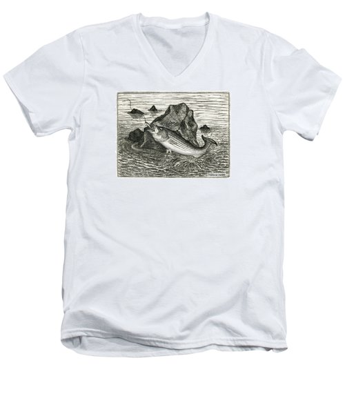 Men's V-Neck T-Shirt featuring the photograph Fishing The Rocks by Charles Harden