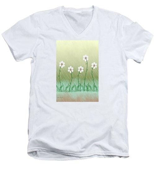 Five Days Of Daisies Men's V-Neck T-Shirt by Rosalie Scanlon