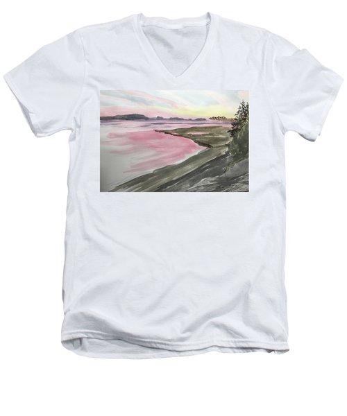 Men's V-Neck T-Shirt featuring the painting Five Islands - Watercolor Sketch  by Joel Deutsch