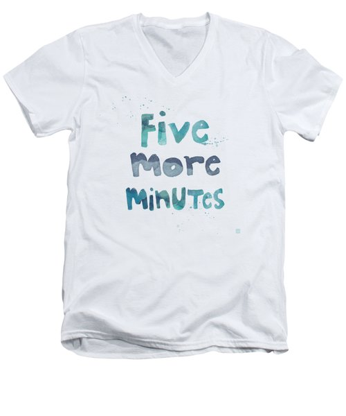 Men's V-Neck T-Shirt featuring the painting Five More Minutes by Linda Woods