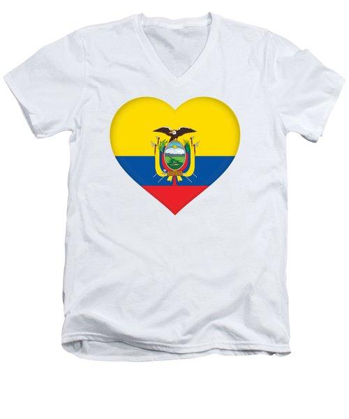Flag Of Ecuador Heart Men's V-Neck T-Shirt
