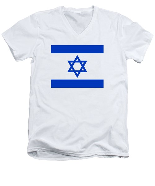 Flag Of Israel Authentic Version Men's V-Neck T-Shirt by Bruce Stanfield