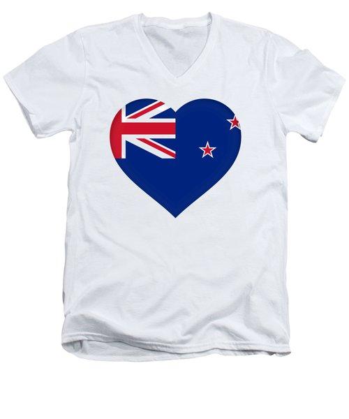 Flag Of New Zealand Heart Men's V-Neck T-Shirt by Roy Pedersen