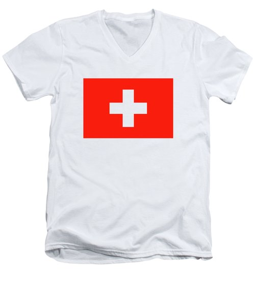 Men's V-Neck T-Shirt featuring the digital art Flag Of Switzerland by Bruce Stanfield