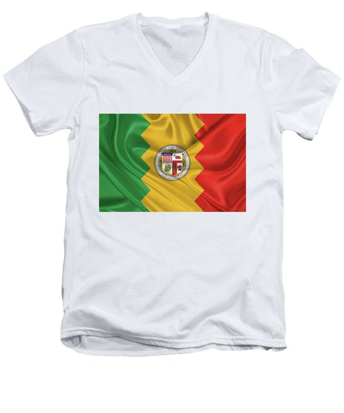Flag Of The City Of Los Angeles Men's V-Neck T-Shirt by Serge Averbukh