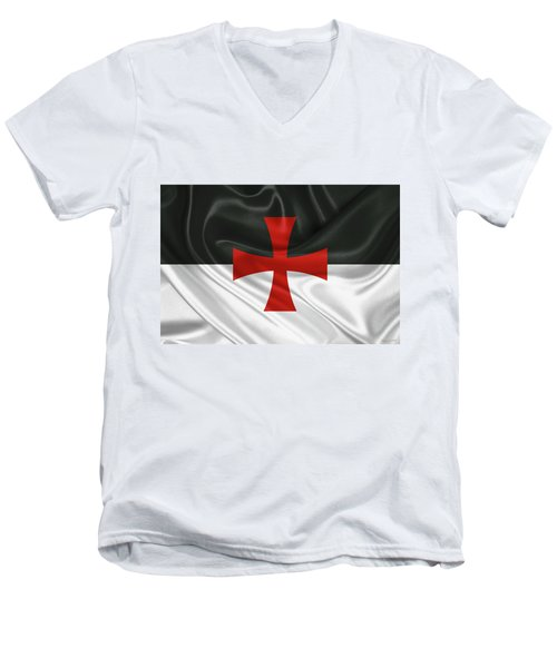 Flag Of The Knights Templar Men's V-Neck T-Shirt by Serge Averbukh