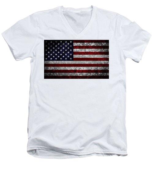 Flag Of The United States Men's V-Neck T-Shirt by Martin Capek