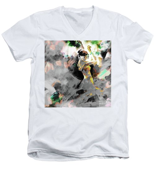 Men's V-Neck T-Shirt featuring the painting Flamenco Dance Art 7u7 by Gull G