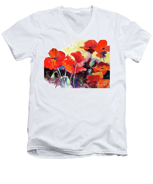Men's V-Neck T-Shirt featuring the painting Flaming Poppies by Kathy Braud
