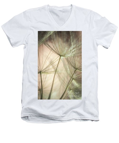 Flamingo Dandelions Men's V-Neck T-Shirt by Iris Greenwell
