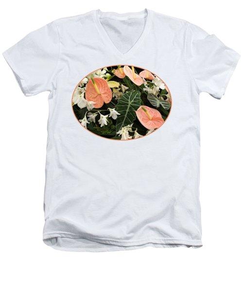 Flamingo Flowers And Orchids Men's V-Neck T-Shirt by Gill Billington